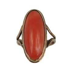 10K Oval Coral Ring Victorian Gold  Antique