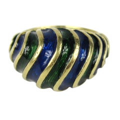 18K Gold Enamel Deep Blue & Green Dome Ring