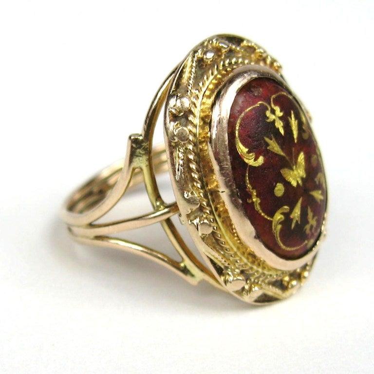 Mid Victorian Antique Garnet 14K Gold Ring 2