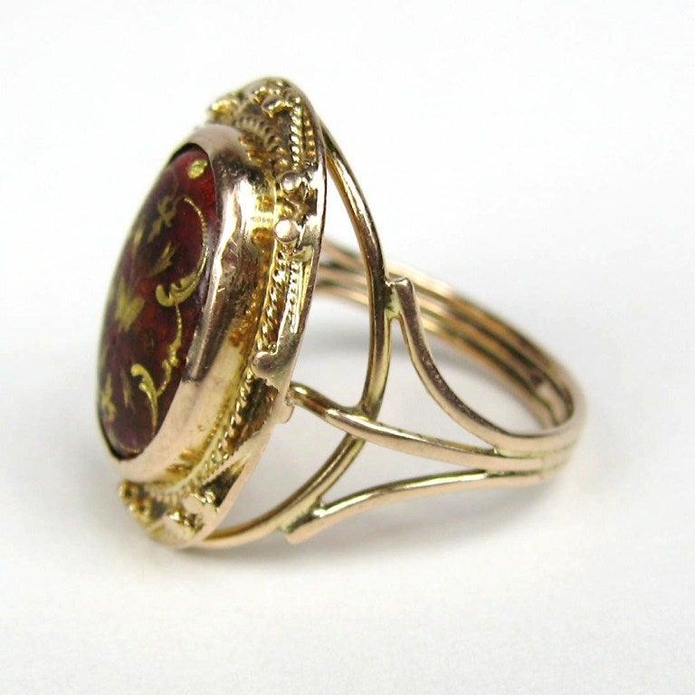 Mid Victorian Antique Garnet 14K Gold Ring 3