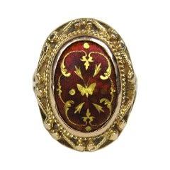 Mid Victorian Antique Garnet 14K Gold Ring