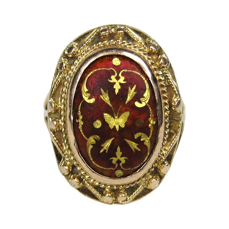 Mid Victorian Antique Garnet 14K Gold Ring 1