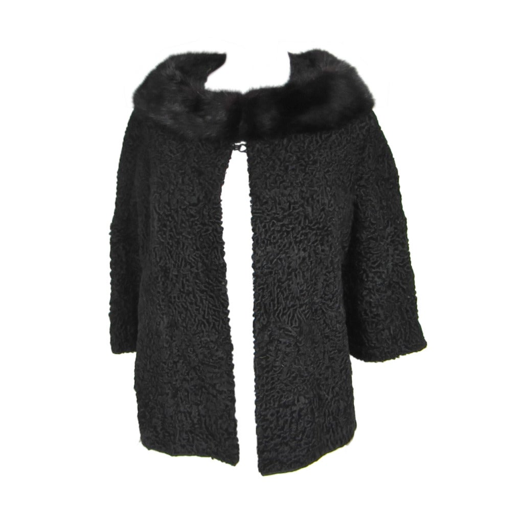 1960s Vintage SCHIAPARELLI Black Persian Lamb Shrug - Jacket Mink