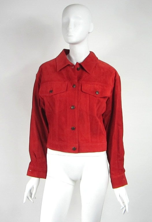 1990s Red Suede Gucci Denim cut style Jacket  2