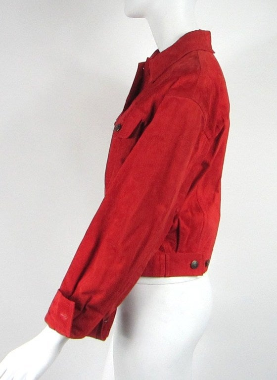 1990s Red Suede Gucci Denim cut style Jacket  4