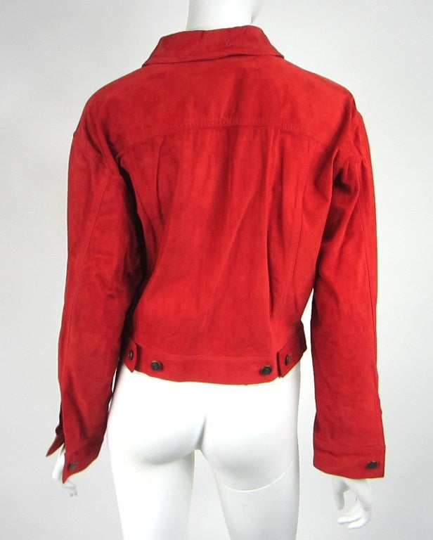1990s Red Suede Gucci Denim cut style Jacket  5