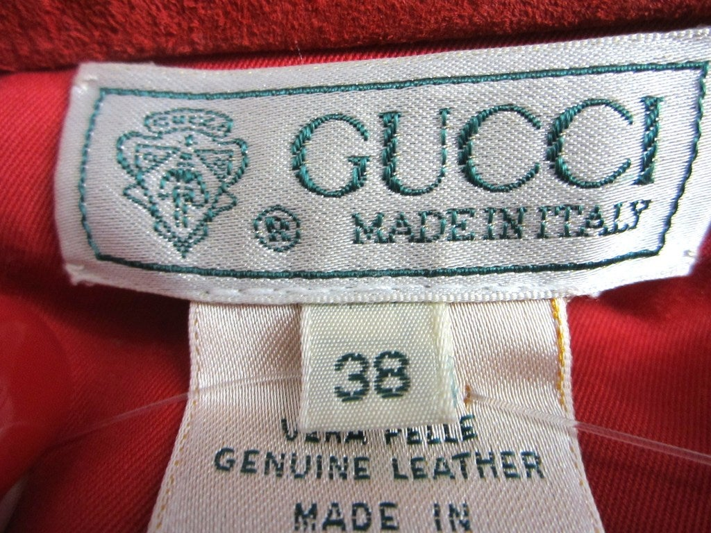 1990s Red Suede Gucci Denim cut style Jacket  6