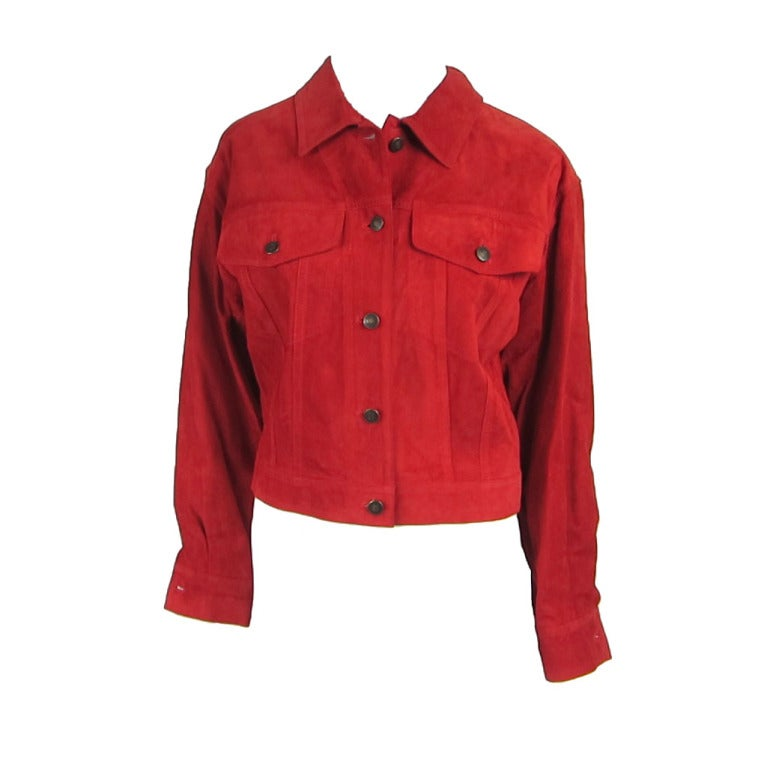 1990s Red Suede Gucci Denim cut style Jacket  1