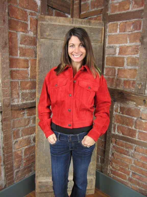 1990s Red Suede Gucci Denim cut style Jacket  7