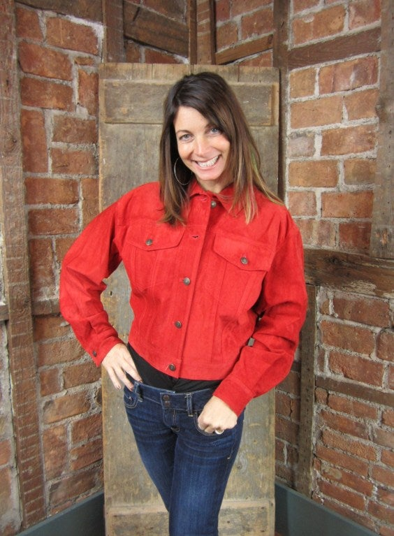1990s Red Suede Gucci Denim cut style Jacket  8