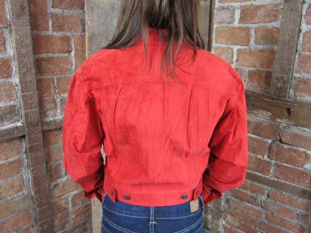 1990s Red Suede Gucci Denim cut style Jacket  9