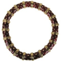 1980's Judith Leiber Gold Tone & Red Enamel Necklace Never worn