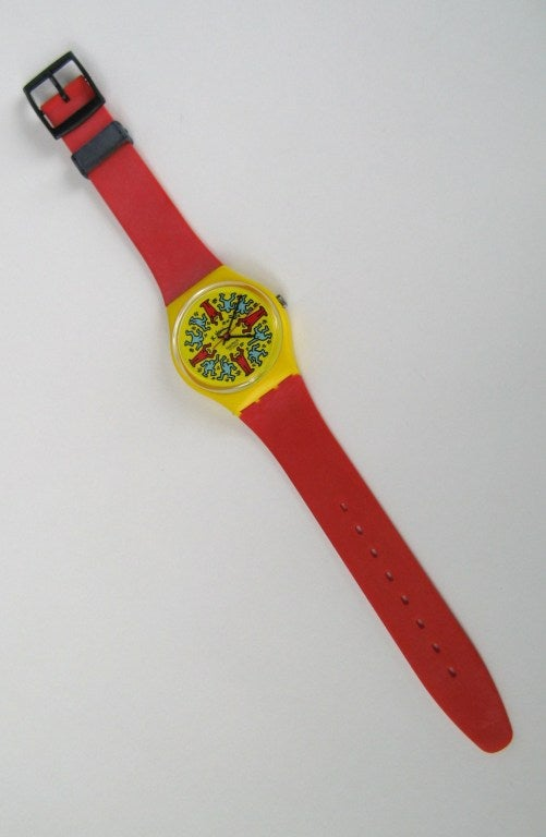 1985 Keith Haring Swatch Watch Modele Avec Personnages GZ100 2