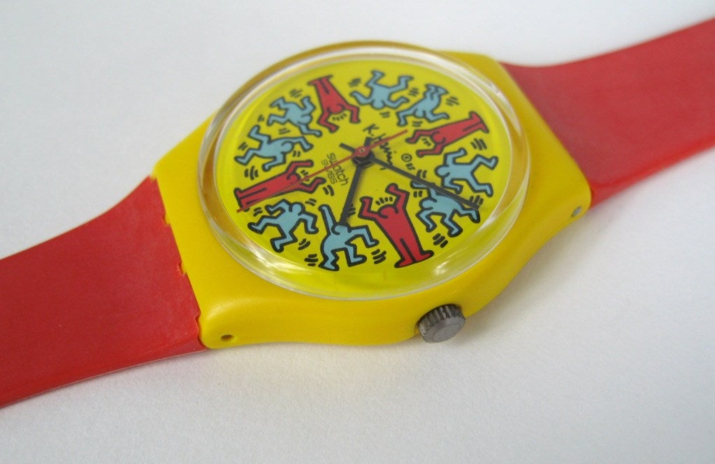 1985 Keith Haring Swatch Watch Modele Avec Personnages GZ100 3