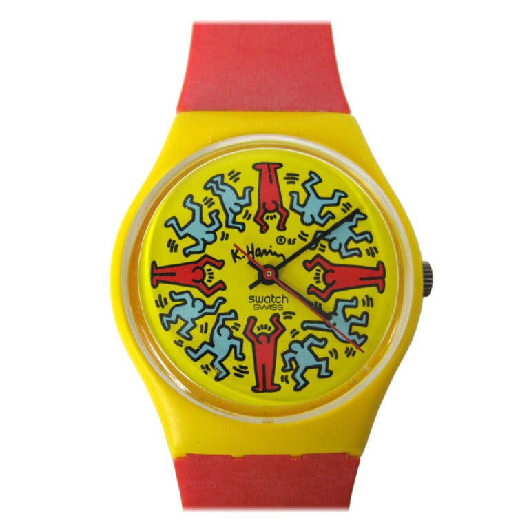 1985 Keith Haring Swatch Watch Modele Avec Personnages GZ100 1