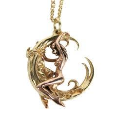 Gold Erotica Moon Pendant Necklace