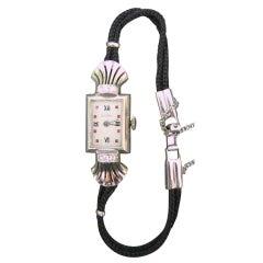 Vulcain Lady's Platinum and Diamond Art Deco Wristwatch Watch