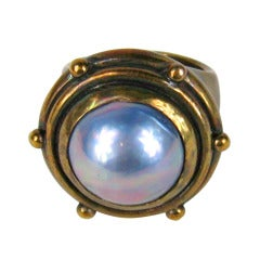 Stephen Dweck Mabe Pearl Bronze Ring 1980s