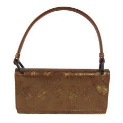 Bronze Leather Prada Handbag New Never Used with tags