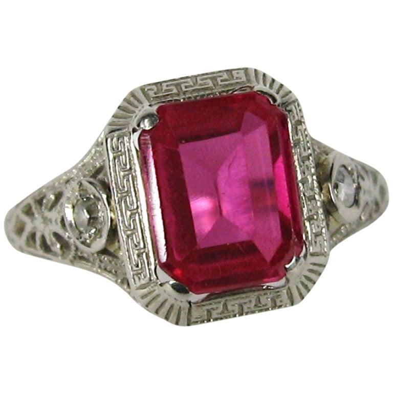 1920s deco white gold ruby filigree ring