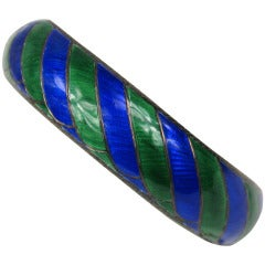 1950's Danish Sterling Silver Blue / Green Enamel Bangle Bracelet