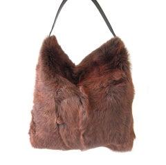 DOLCE & GABBANA Brown Fur Tote Bag Handbag HOBO Purse