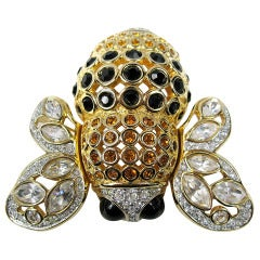 """1980's Swarovski """"Jeweler's Collection"""" Crystal Gold Bumble Bee Brooch Pin"""