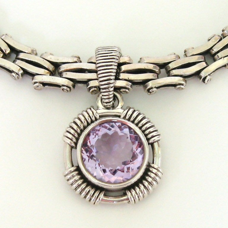 Stephen Dweck Amethyst Sterling Silver Amethyst  Necklace 1990s never worn  2