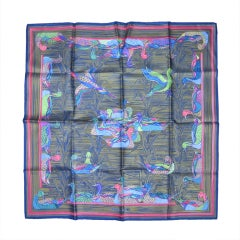 1990's Hermes Bronze Striped Bird Silk Scarf New, Never Worn
