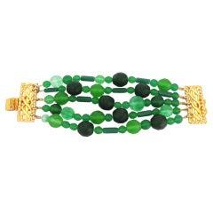 Vintage Dominique Aurientis Green Glass Bracelet 1980's New Never worn