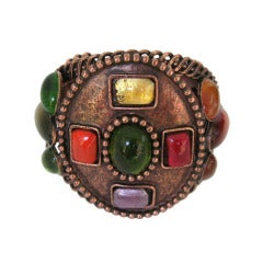 1990s Philippe Ferrandis Bronze Gripoix Glass Cuff Bracelet New, Never worn