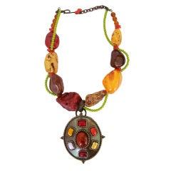 1900s Philippe Ferrandis Bronze Gripoix Glass Amber Stone Necklace Never Worn