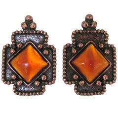 1990s Philippe Ferrandis Bronze Gripoix Glass Clip Earrings New, never worn