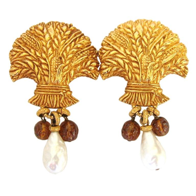 1980's Dominique Aurientis Gripoix Glass Baroque Pearl Earrings 1