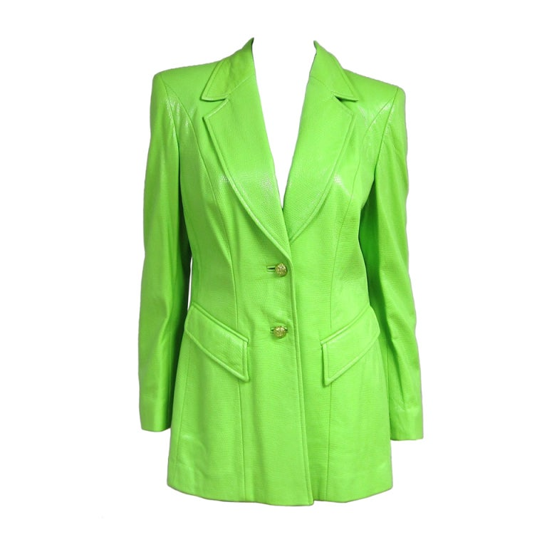 ESCADA Neon LIME Green Embossed Repitle Leather Blazer Jacket at