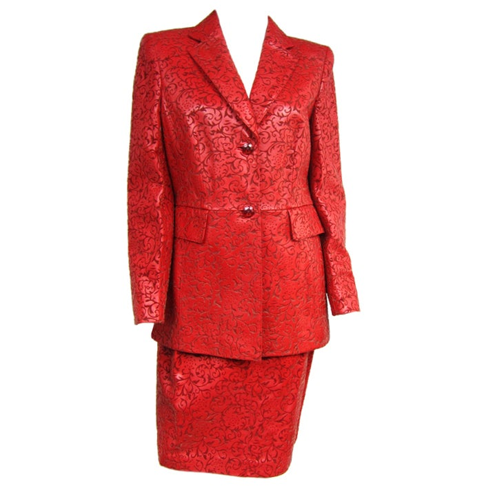 Escada Red Paisley Embossed Leather Jacket Blazer And