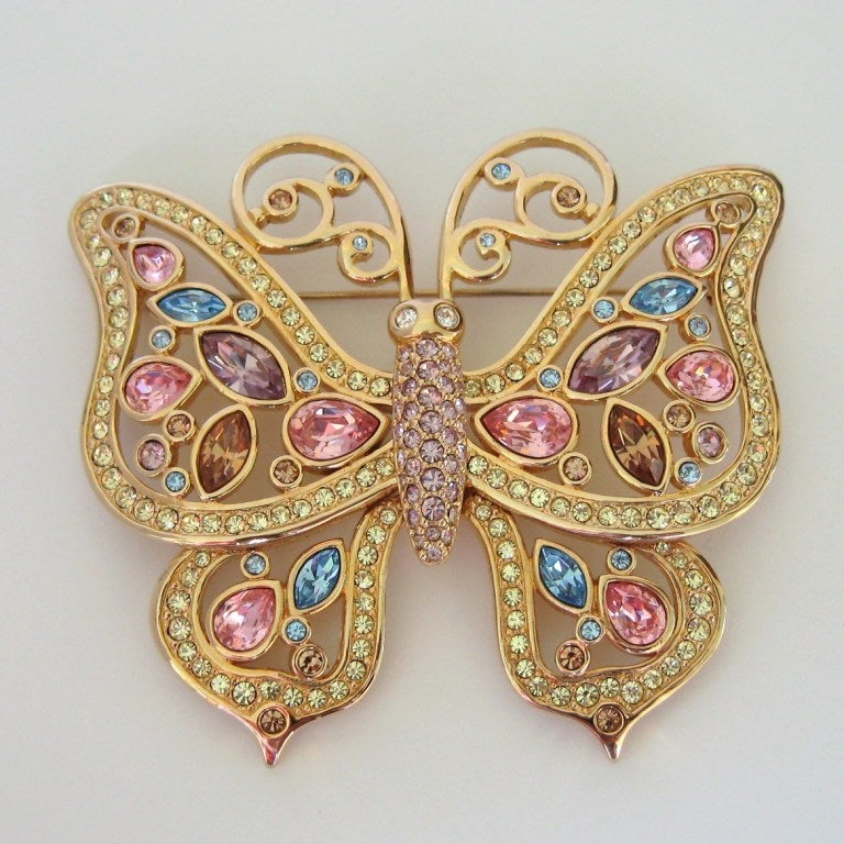 Swarovski Large Butterfly Pin Brooch Retired 2