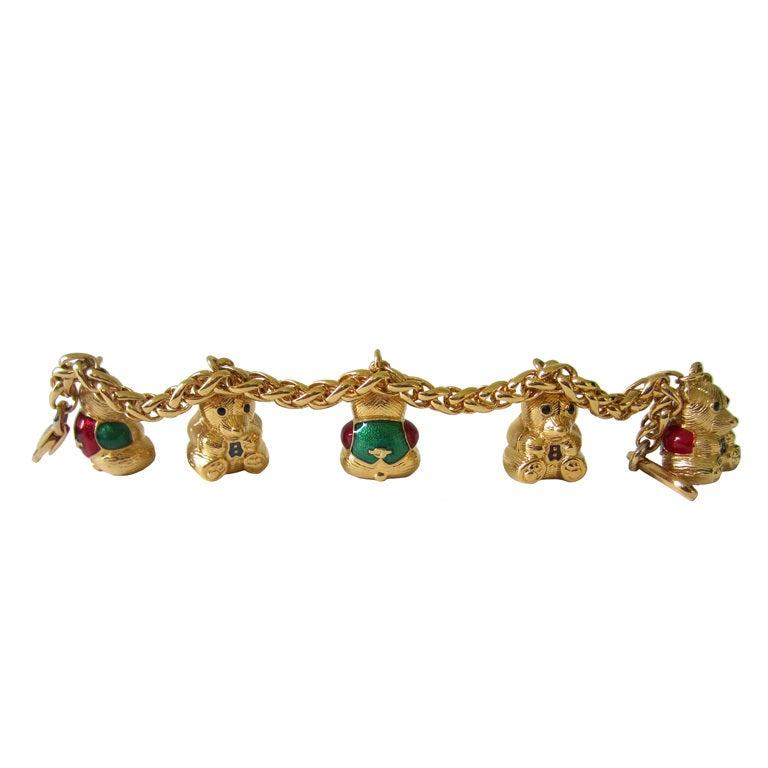 Enamel Charms For Bracelets: JUDITH LEIBER Enamel Figural Teddy Bear Charm Bracelet For