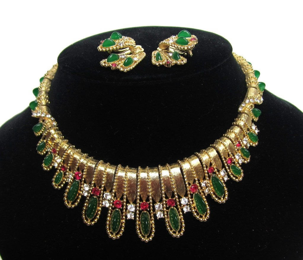 Vintage Marcel Boucher Necklace and Earring Set in original box  4
