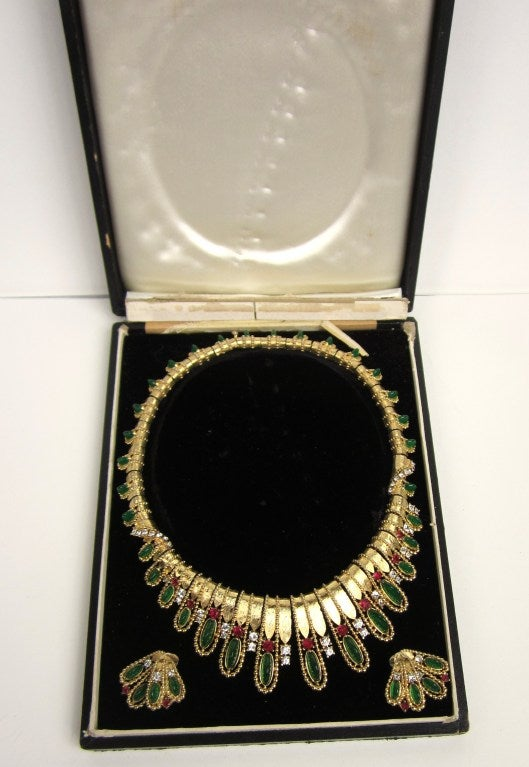 Vintage Marcel Boucher Necklace and Earring Set in original box  9
