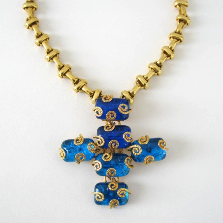 Dominique Aurientis Maltese Cross Gripoix Glass Necklace / Brooch 1980's New  2