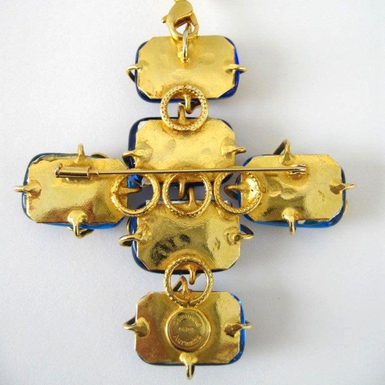 Dominique Aurientis Maltese Cross Gripoix Glass Necklace / Brooch 1980's New  4