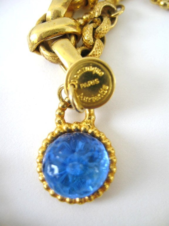 Dominique Aurientis Maltese Cross Gripoix Glass Necklace / Brooch 1980's New  5