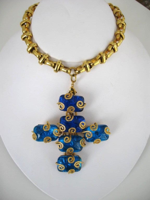 Dominique Aurientis Maltese Cross Gripoix Glass Necklace / Brooch 1980's New  6