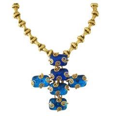 Dominique Aurientis Maltese Cross Gripoix Glass Necklace / Brooch 1980's New