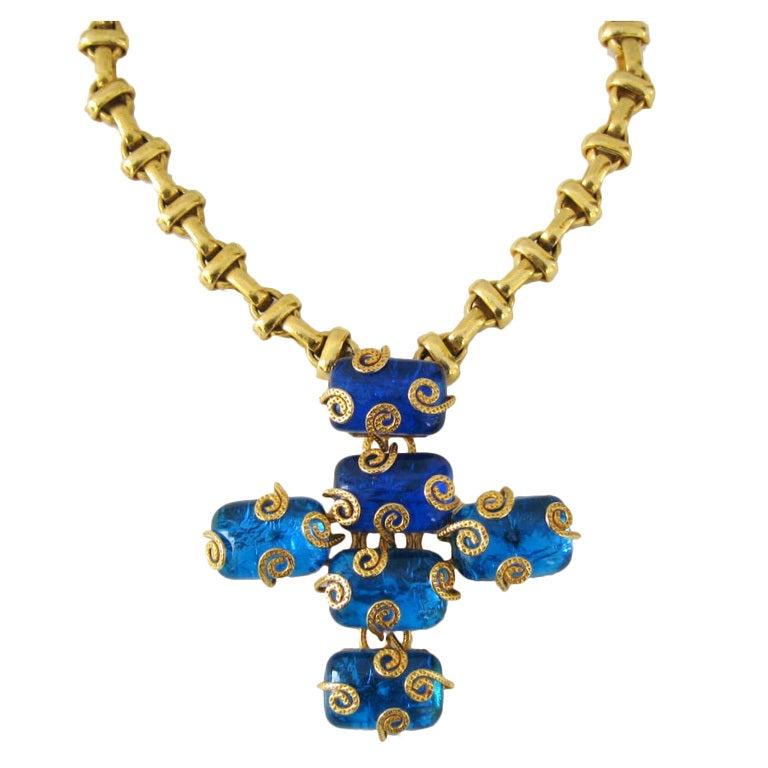 Dominique Aurientis Maltese Cross Gripoix Glass Necklace / Brooch 1980's New  1