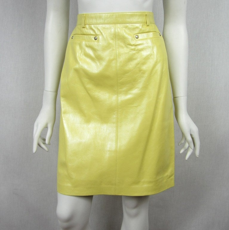 escada pearl yellow leather jacket and skirt at 1stdibs