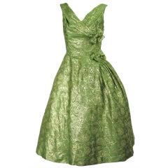 1950s Will Steinman Green Gold Brocade Cocktail Dress