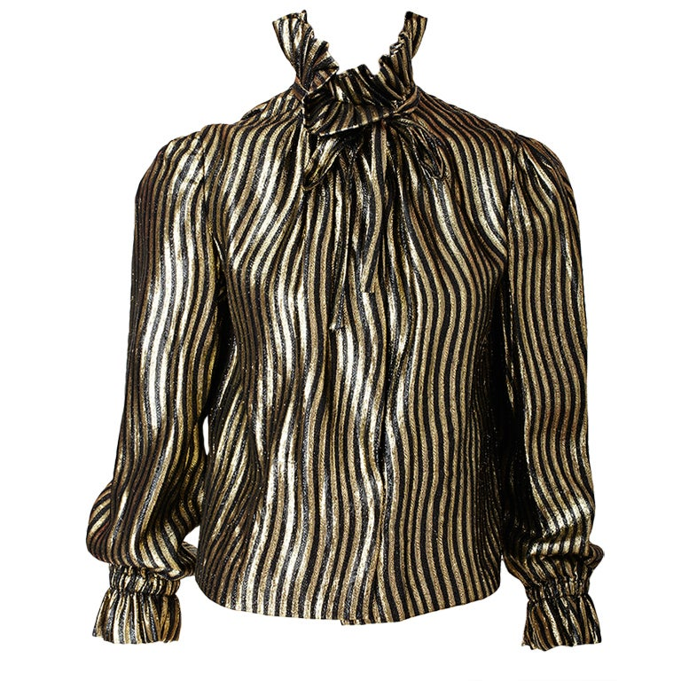 Pauline Trigere Gold Lame Blouse