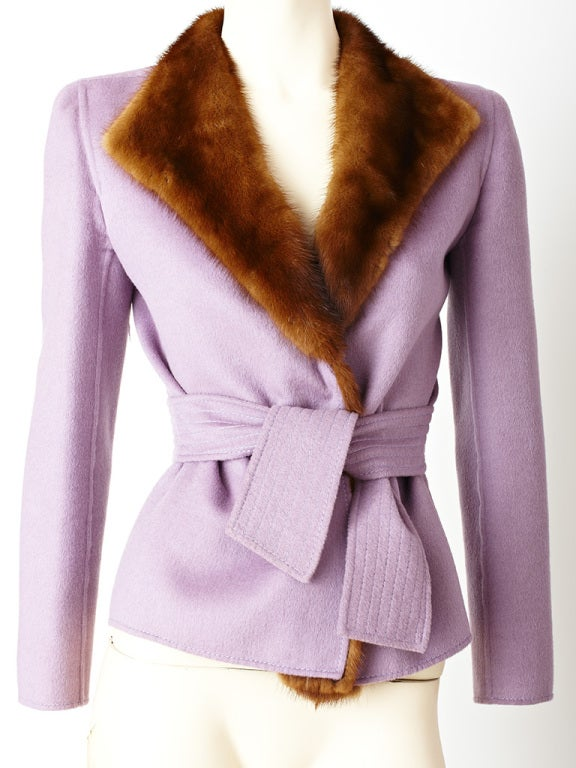 Valentino Double Face Wool Jacket with Mink Trim 2